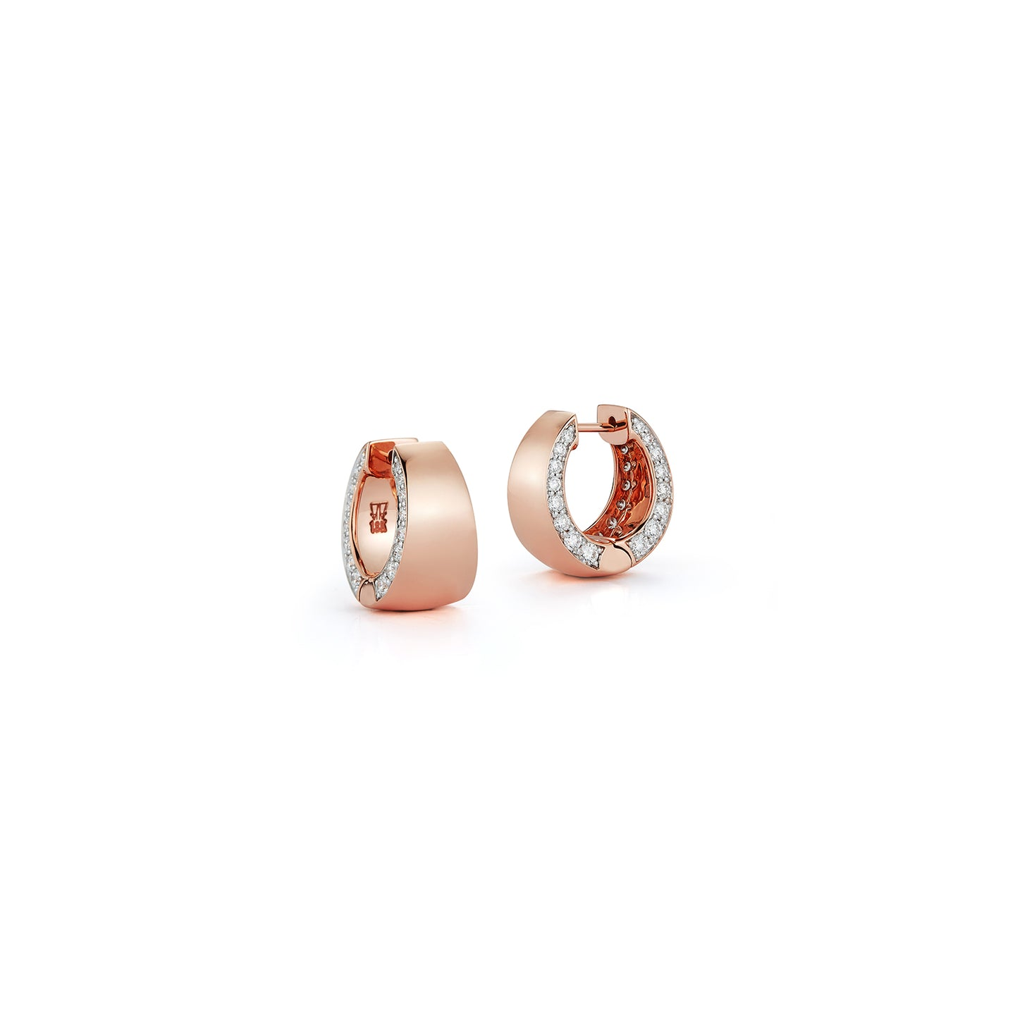 LYTTON 18K ROSE GOLD HOOP WITH DIAMOND EDGE EARRING