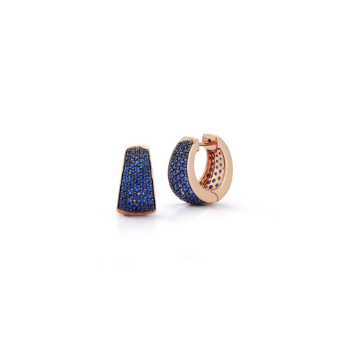 LYTTON 18K ROSE GOLD AND ALL BLUE SAPPHIRE TAPERING HOOP EARRINGS