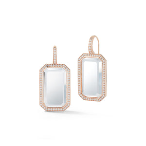 BELL 18K ROSE GOLD, DIAMOND, AND ROCK CRYSTAL RECTANGULAR EARRINGS
