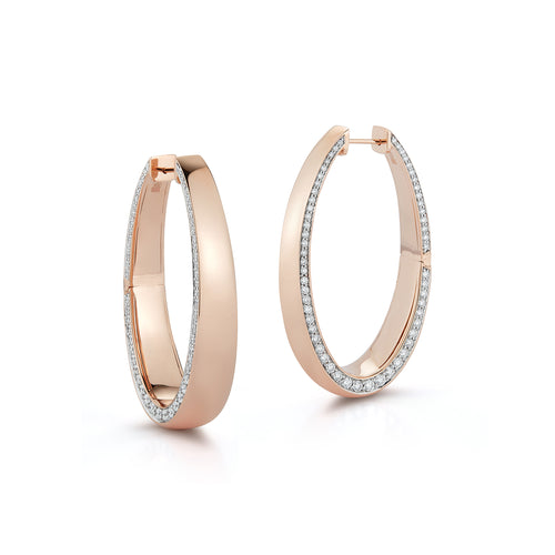 LYTTON 18K ROSE GOLD LONG HOOP WITH DIAMOND EDGE EARRING