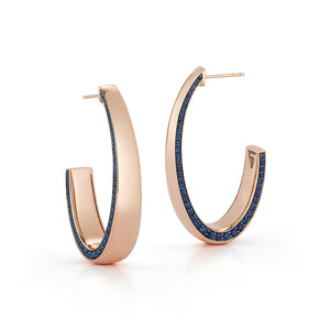 LYTTON 18K ROSE GOLD LONG HOOP WITH SAPPHIRE EDGE HALF BACK EARRING