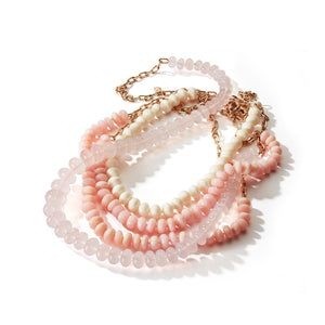 SAXON ONE OF A KIND 18K ROSE GOLD CHAIN LINK AND GRADUATING ROSE QUARTZ BEAD NECKLACE