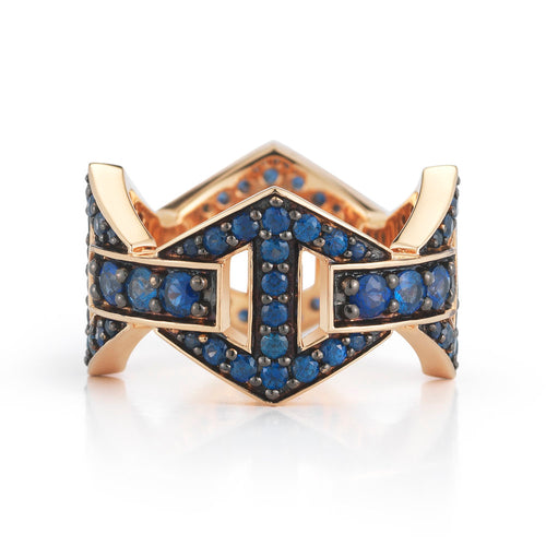 KEYNES 18K SIGNATURE BLUE SAPPHIRE LARGE HEXAGON RING