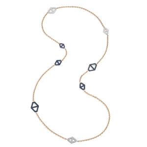 KEYNES 18K DIAMOND AND SAPPHIRE SIGNATURE HEXAGON NECKLACE