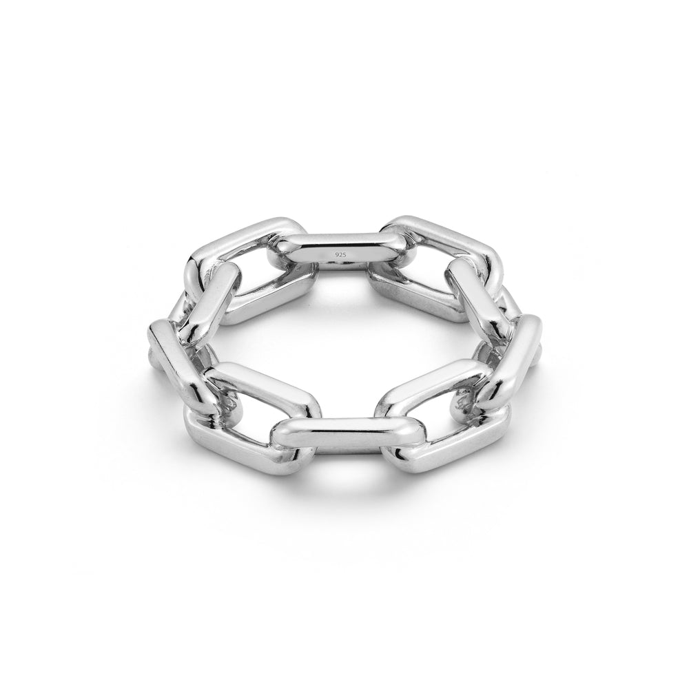 SAXON STERLING SILVER LARGE CHAIN LINK RING