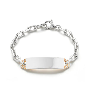 CARRINGTON TWO TONE DIAMOND MINI ID BAR BRACELET