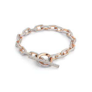 SAXON 18K ALL DIAMOND CHAIN LINK TOGGLE BRACELET