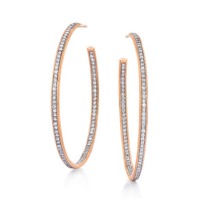 "GRANT 18K ROSE GOLD DIAMOND 1.5"" HOOP EARRINGS"