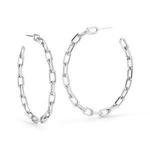 "SAXON 2"" STERLING SILVER CHAIN LINK HOOP EARRINGS"