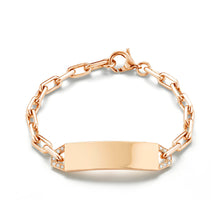 CARRINGTON 18K ROSE MINI ID BAR & DIAMOND BRACELET
