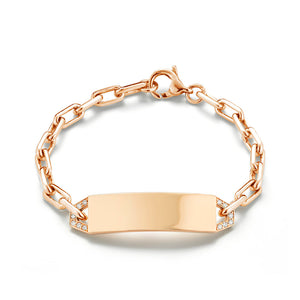 CARRINGTON 18K ROSE GOLD MINI DIAMOND ID BRACELET