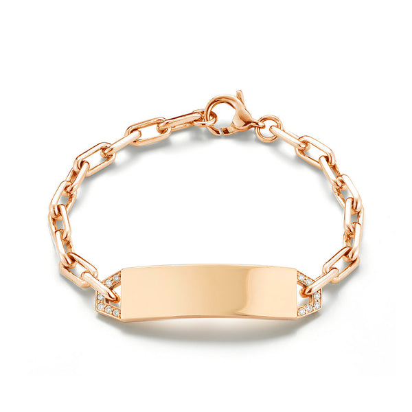 CARRINGTON 18K ROSE MINI DIAMOND ID BRACELET