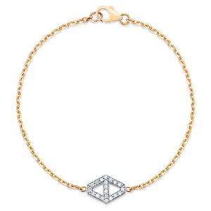 KEYNES 18K SMALL SIGNATURE DIAMOND HEXAGON BRACELET