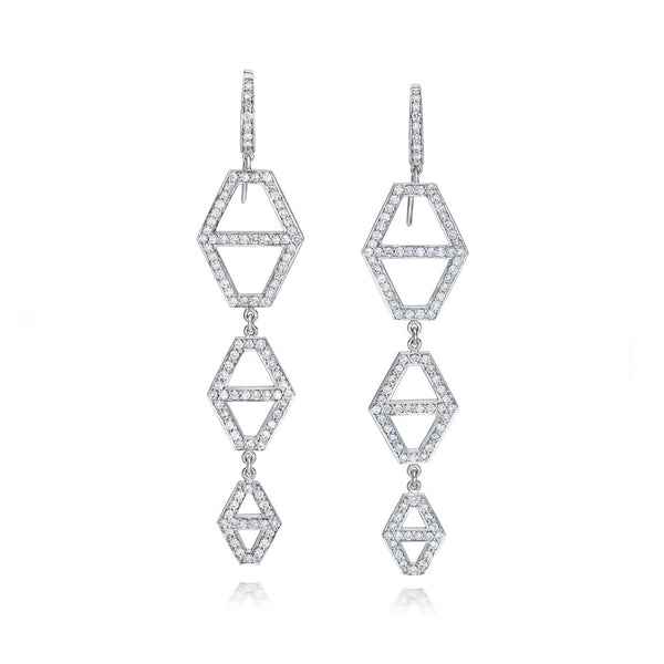 KEYNES 18K THREE DROP DIAMOND HEXAGON EARRINGS