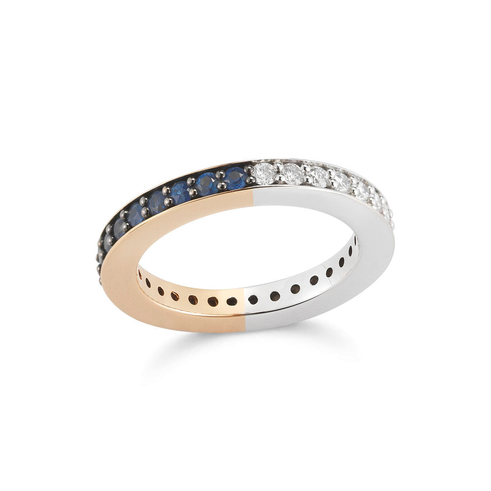 GRANT TWO TONE 3MM DIAMOND & SAPPHIRE BAND RING