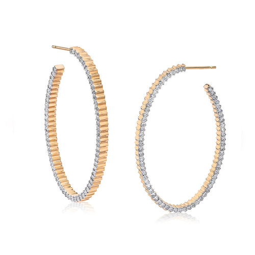 CLIVE 18K DIAMOND FLUTED HOOP EARRINGS