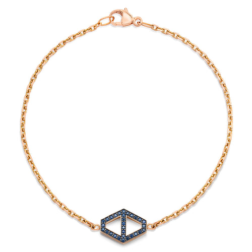 KEYNES 18K MEDIUM SIGNATURE SAPPHIRE HEXAGON BRACELET