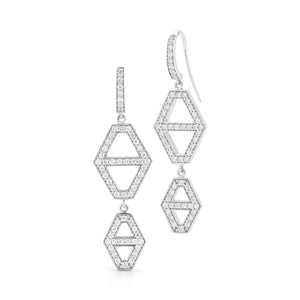 KEYNES 18K TWO DROP SIGNATURE DIAMOND HEXAGON EARRINGS