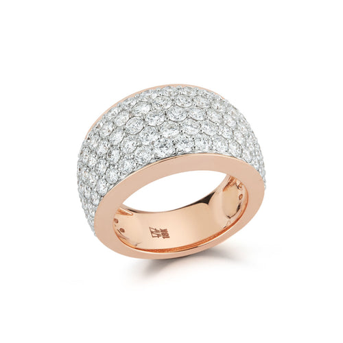 LYTTON 18K ROSE GOLD ALL PAVE DIAMOND BOMBE RING