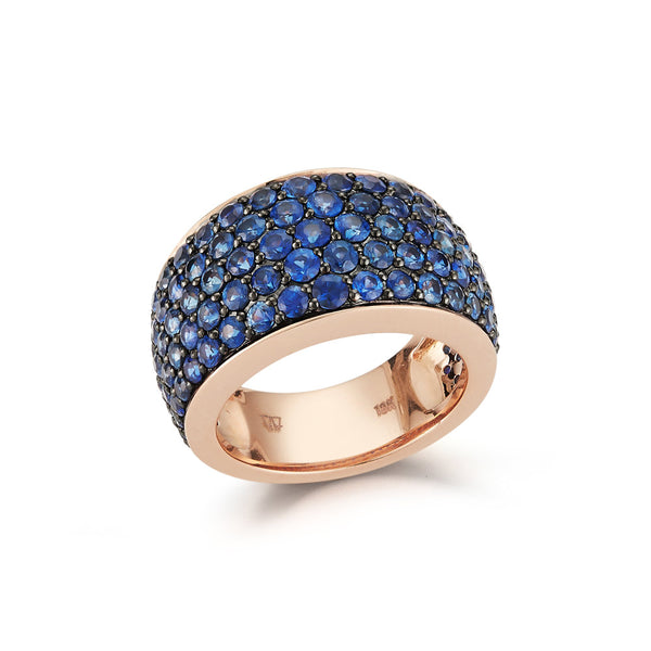 LYTTON 18K ROSE GOLD ALL PAVE BLUE SAPPHIRE BOMBE RING