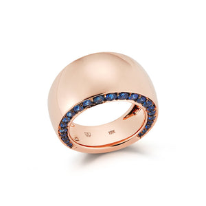 LYTTON 18K BOMBE RING WITH BLUE SAPPHIRE EDGES