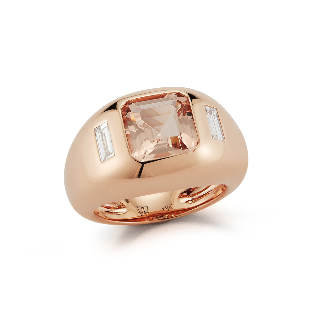 OTTOLINE 18K ROSE GOLD, MORGANITE, AND DIAMOND GYPSY RING