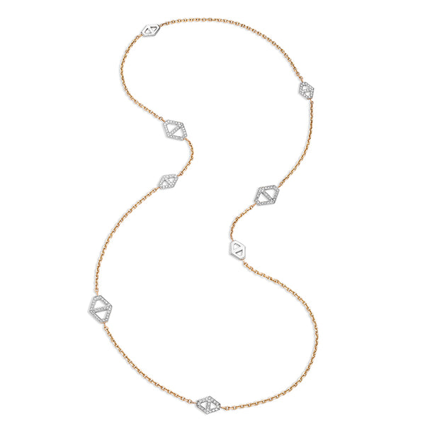 KEYNES 18K DIAMOND SIGNATURE HEXAGON STATION NECKLACE