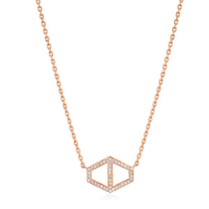 KEYNES 18K LARGE SIGNATURE DIAMOND HEXAGON PENDANT