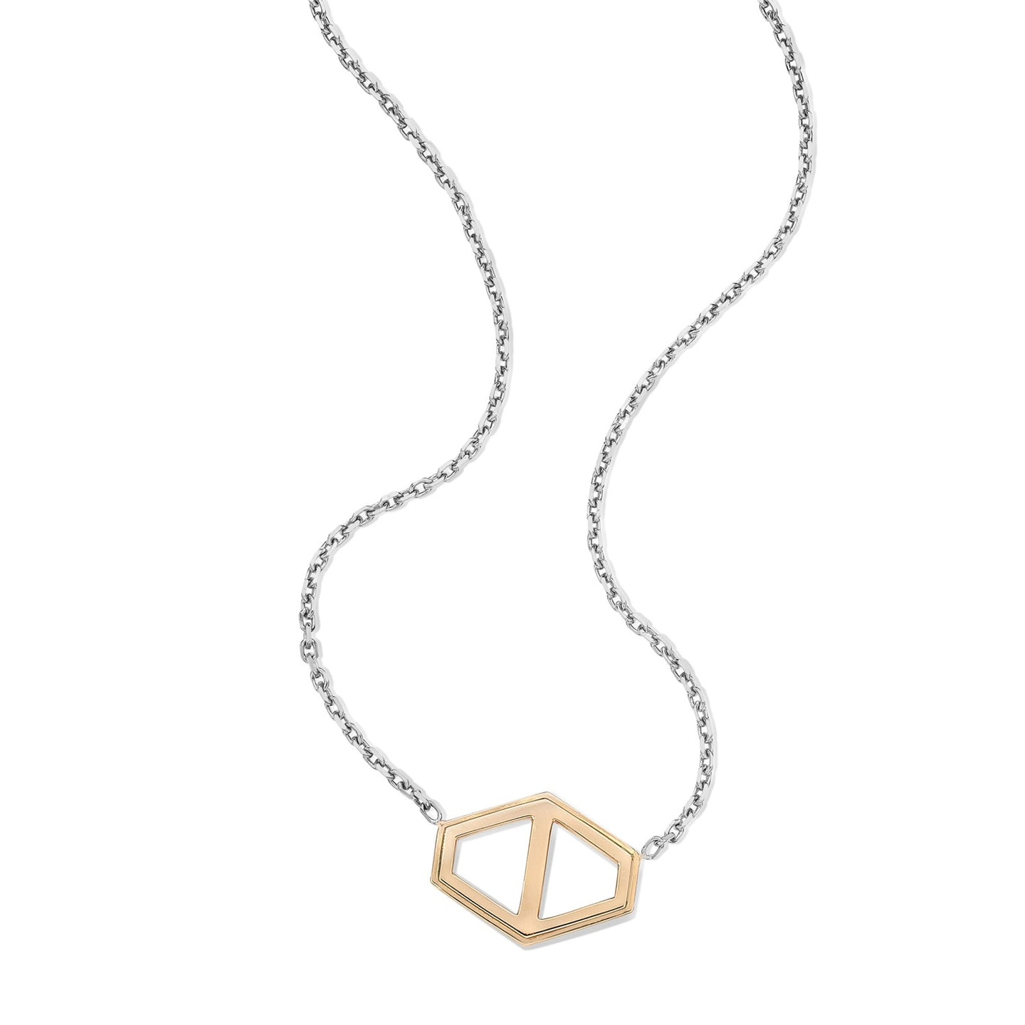 KEYNES TWO TONE LARGE SIGNATURE HEXAGON PENDANT