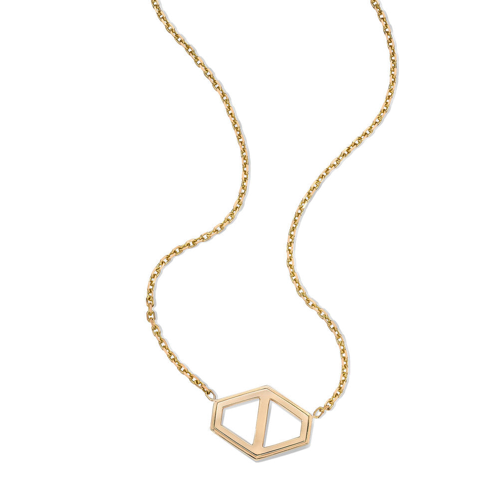 KEYNES 18K LARGE SIGNATURE HEXAGON PENDANT