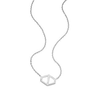 KEYNES STERLING SILVER LARGE SIGNATURE HEXAGON PENDANT