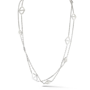 KEYNES STERLING SILVER SIGNATURE HEXAGON STATION NECKLACE, 42""