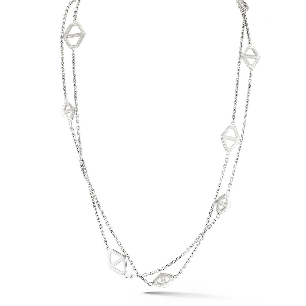 KEYNES STERLING SILVER SIGNATURE HEXAGON STATION NECKLACE