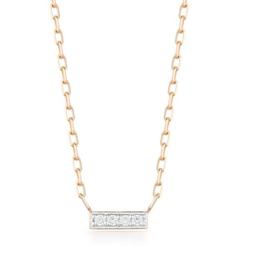 GRANT 18K ROSE GOLD AND DIAMOND MINI BAR PENDANT