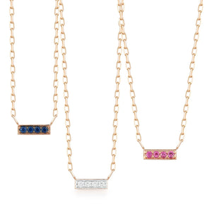 GRANT 18K ROSE GOLD AND SAPPHIRE MINI BAR PENDANT