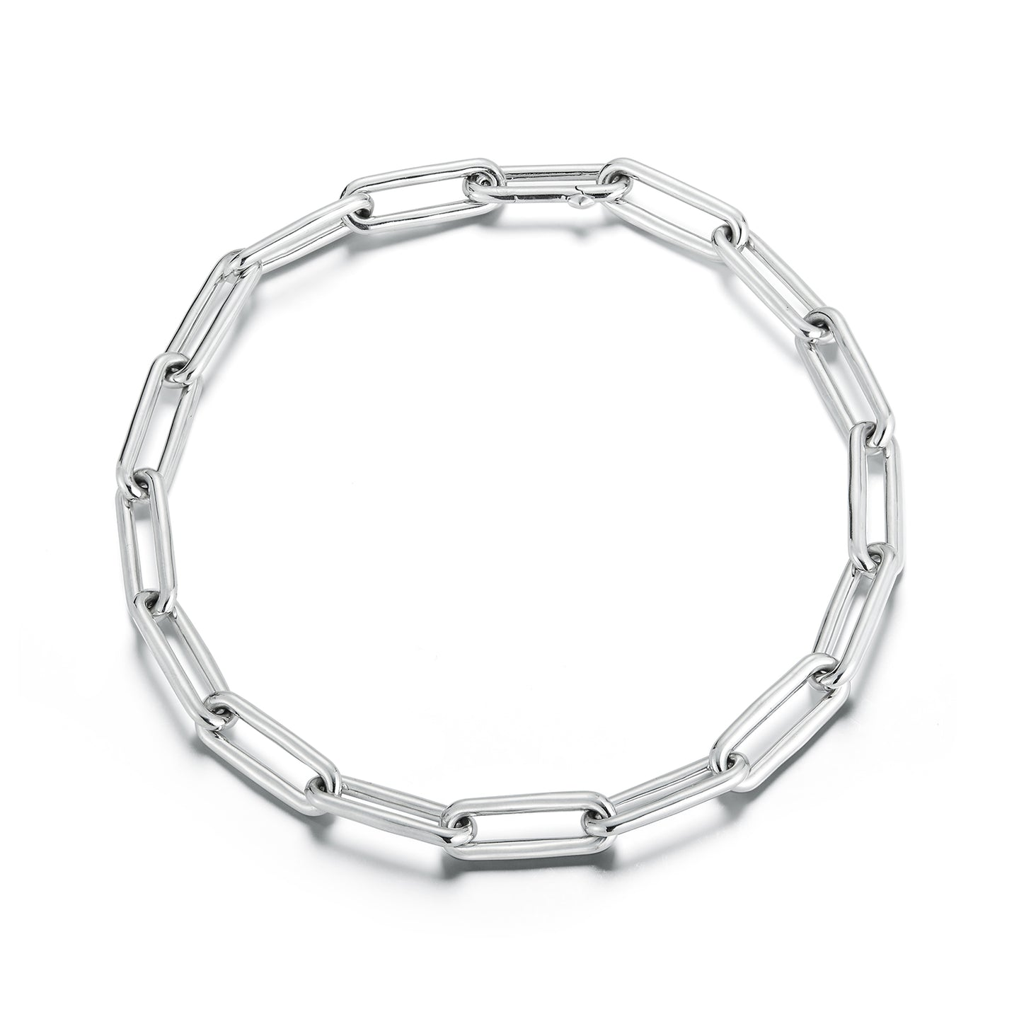 SAXON STERLING SILVER ELONGATED CHAIN LINK NECKLACE