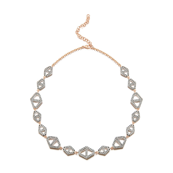 Keynes 18K Two Tone Diamond Signature Hexagon Choker