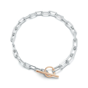 SAXON 18K TWO TONE GRADUATING CHAIN LINK CHOKER