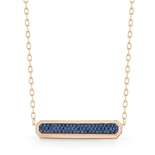 CARRINGTON 18K ROSE GOLD BLUE & PINK SAPPHIRE ID BAR PENDANT