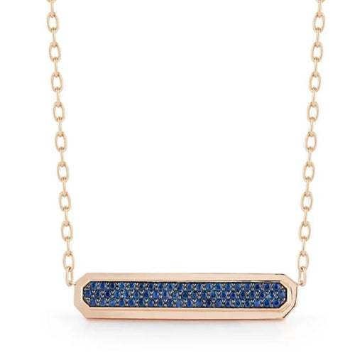 CARRINGTON 18K ROSE GOLD SAPPHIRE EAST-WEST ID BAR PENDANT