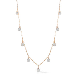 DORA 18K ROSE GOLD 9 DIAMOND HEXAGON MOTIF STATION NECKLACE