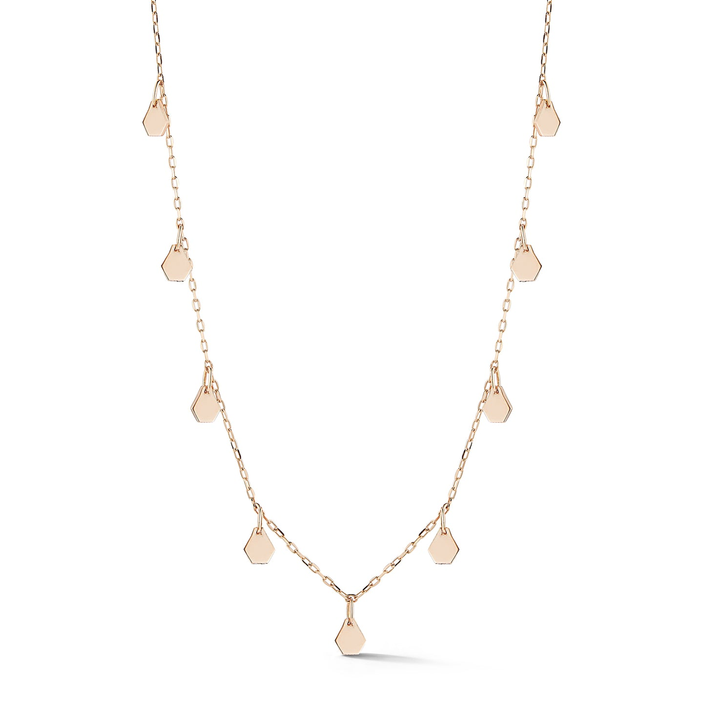 DORA 18K ROSE GOLD 9 HEXAGON MOTIF STATION NECKLACE
