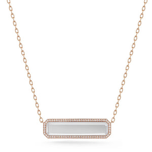 BELL 18K DIAMOND ROCK CRYSTAL BAR PENDANT