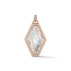 BELL 18K ROSE GOLD, DIAMOND AND ROCK CRYSTAL HEXAGON CHARM