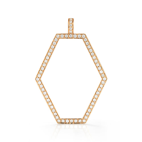 Keynes 18K Gold and Diamond Medium Open Hexagon Charm