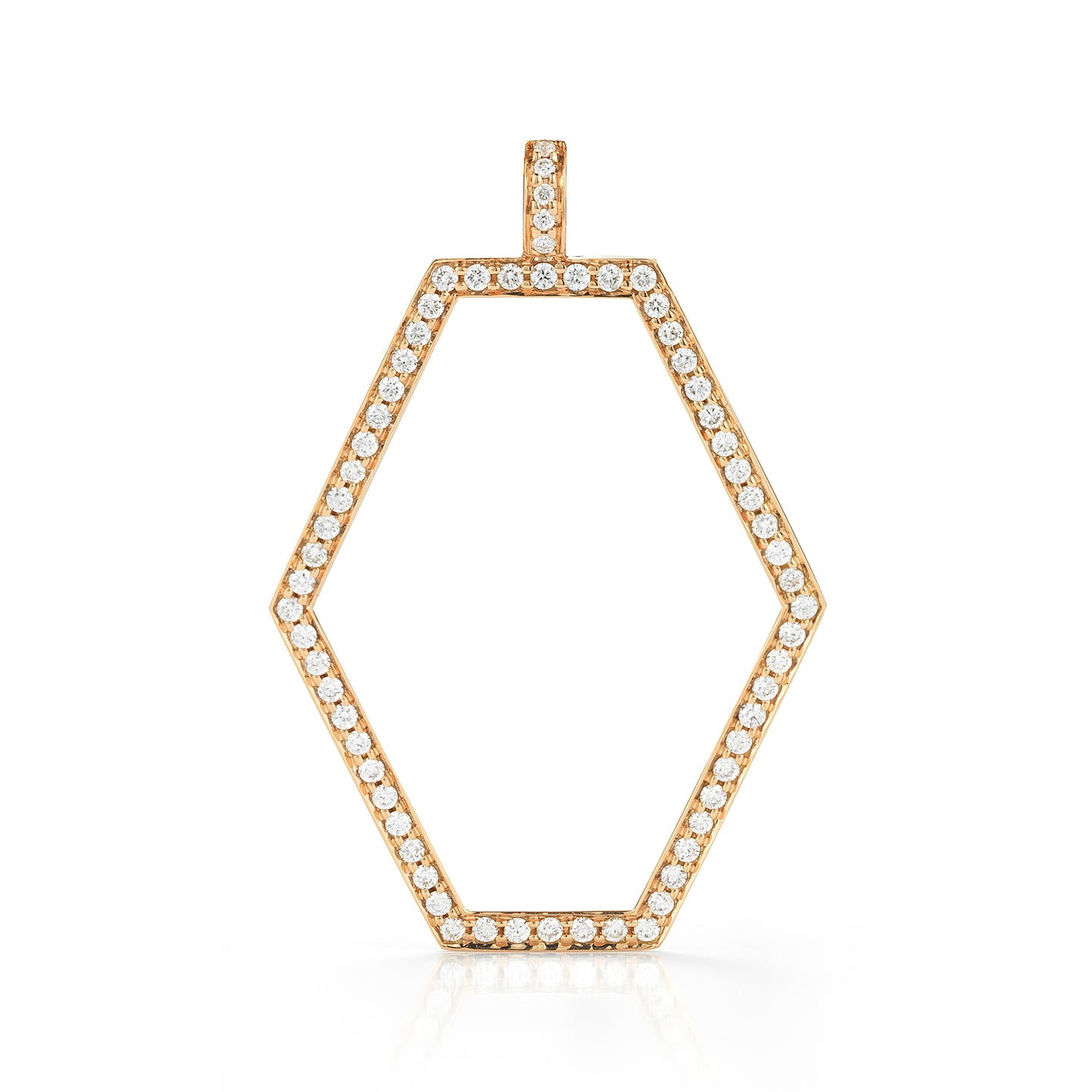 KEYNES 18K SMALL DIAMOND OPEN HEXAGON MOTIF CHARM