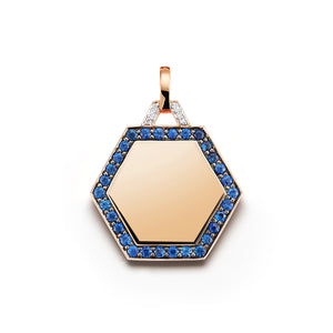 DORA 18K SAPPHIRE AND DIAMOND HEXAGON CHARM