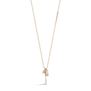 18K GOLD AND DIAMOND MINI CHARM NECKLACE