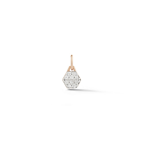 DORA 18K ROSE GOLD ALL DIAMOND MINI HEXAGON CHARM