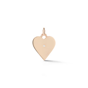 DORA 18K ROSE GOLD HEART CHARM WITH BURNISHED ROUND BRILLIANT CUT DIAMOND